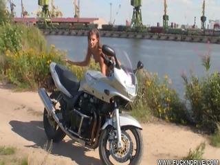 eager biker cutie