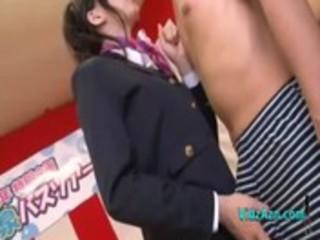 hawt oriental stewardess getting her scoops