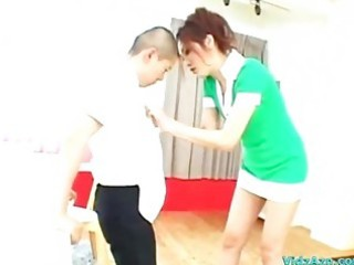 tall beauty giving cook jerking for short boy
