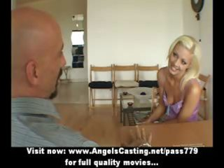 golden-haired hot bride lady doing oral-service